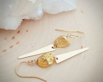 Gold nugget and Spike dagger dangle earrings. Statement. Nature inspired. Unique. Gold plated pyrite. Gift. Boho chic. Trendy. Coachella