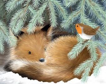Fox Christmas Card, Holiday Card, Cute, Fox Cub & Robin, Woodland, Winter, Snow, Greeting Card by Fox and Boo