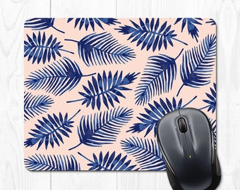 Mouse Pad Pink Leaves Mousepad Cubicle Decor Leaf Mouse pad Office Desk Accessories Cubicle Accessories Blue Office Supplies Coworker Gift
