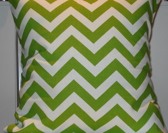 New 18x18 inch Designer Handmade Pillow Case in Lime green and white zig zag, chevron pattern.