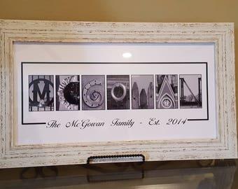 20x10 Alphabet Letter Art Great For Weddings - Alphabet Art - WITH Shabby Chic FRAME