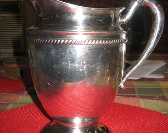 """c1934 Forbes Silver-Plate Water Pitcher, Large Capacity 9.5""""H x 6.5""""D with Ice Guard - Wonderful Condition!!!"""