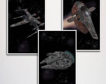 Star Wars Ships Word Art Quote Poster Set