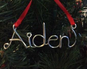 wire name ornament,Aiden ornament,Personalized Ornament ,Personalized Christmas ornament, first Christmas