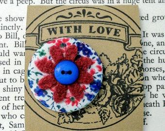 Handmade Cotton Felt Button Flower Pin