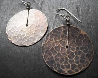Medium Brass Disk Earrings