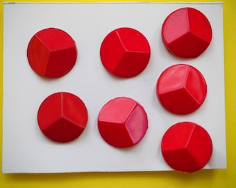 7 small red buttons 15mm synthetic, shirt or vest or scrapbooking