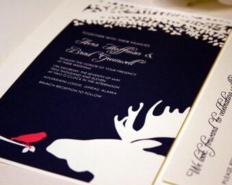 Bird and Moose Wedding Invitation with Tree, Wedding Invites, Wedding Invitations