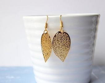 Gold Plated Filigree Leaf Earrings - Dangle Earrings - Drop Earrings - Gold Earrings - Nature Earrings - Boho Earrings - Lightweight Earring