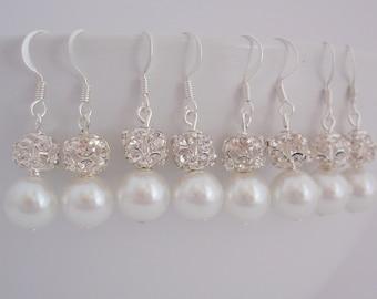 SALE: 7 Pairs Bridesmaid Gift Earrings, 7 Pairs Pearl and Rhinestone, Bridesmaid Pearl Earrings, Bridesmaid Gifts, Rhinestone Ball Earrings