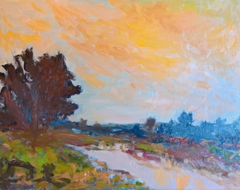 Original landscape oil painting Fire in the sky by Stephen More Fontaine