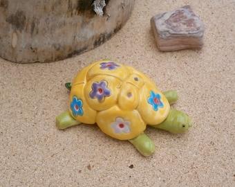 Yellow tortoise figurine - Colourful miniature ceramic tortoise - small tortoise sculpture - terrarium ornament