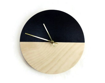 Wood Wall Clock, Vegan Black Leatherette, Eco Friendly Home Decor. Home and Living