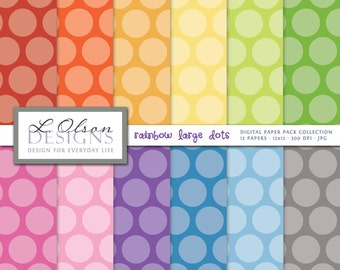 Rainbow Dots Paper Pack - 12 digital paper pattern - INSTANT DOWNLOAD