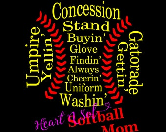 Softball mom, Softball word art, Softball shape word, word art, SVG, EPS, DXF, Digital file, Instant Download, Silhouette, Cricut