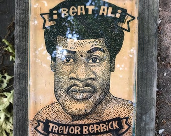 I Beat Ali: Trevor Berbick. Ink on birchbark, 5x7.