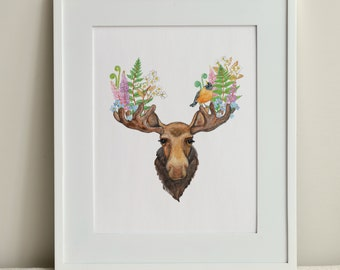 The Moose and The Robin / 8x10 Print / FREE SHIPPING