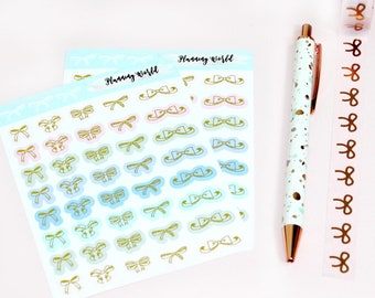 Foiled Bow Stickers//Foiled Functional Stickers!//SINGLE SHEET