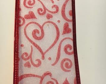 Sheer Valentine ribbon printed with red hearts