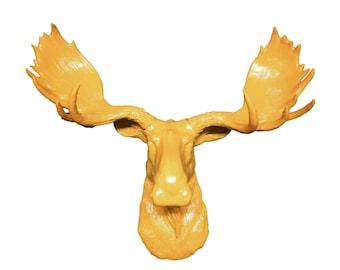Yellow Moose Head Mount Wall Statue. Faux Taxidermy Fake Moose Head.