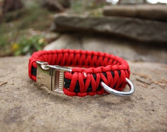 Paracord Dog Collar - Red & Black