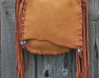 Handmade crossbody shoulder bag with fringe, Man bag