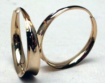 Locking Gold Hoops, 14K Solid Gold hoops, Medium size