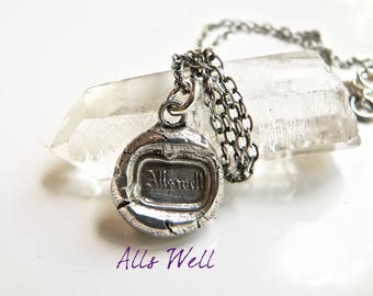 ALL's WELL Positive Outlook Talisman - Antique Wax Seal Jewelry Necklace, Sterling Jewellery with the Soul of History, Your Daily Jewels