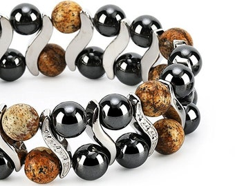 Picture Jasper Elegant Womens Hematite Magnetic Therapy Healing Stone Bracelet & Ring Set Pain Relief for Arthritis and Carpal Tunnel