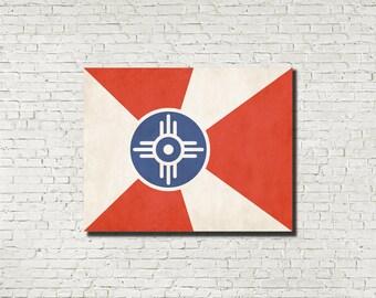 Wichita City Flag Kansas Wall Art Aged or Original