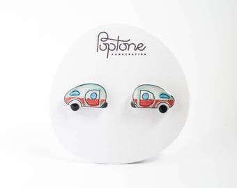 Camper Earrings, vintage camper, teardrop trailer earrings, retro camping studs, happy camper