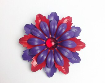 "Vintage red purple jewelrd  Enamel Flower Brooch Extra Large Metallic Vtg Floral Pin 3"" Wide VGUC"