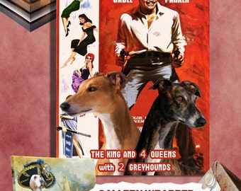 Greyhound Vintage Poster - The King and Four Queens Movie Poster   Perfect DOG LOVER GIFT Gift for Her Gift for Him Home Decor