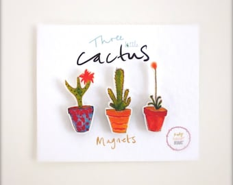 A Little Set of 3 Cactus Succulent illustrated Magnets