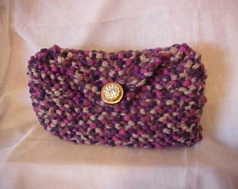 HANDKNIT HANDBAG/CLUTCH~~Adourned with Rhinestoned Focal Piece in Gold-Tone~~In Shades of Lavendar, Pink and Grey~~Multi-Colored