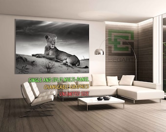 Lion Living Room Decor Split art Gallery Wrapped Canvas multi panel art Large Canvas Wall Art Canvas Art Wall Poster Home Wall Decor