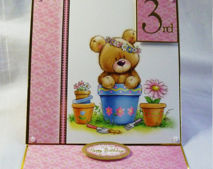 Baby Card, Birthday Card, Greeting Card, 3 Year Old,Llittle Girl, Teddy Bear in Flower Pot, Daughter, Sister, Niece, Grandaughter