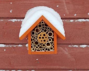 Mason Bee House and Insect Home, One Tier, in 'Honey Mango' Can be personalised.
