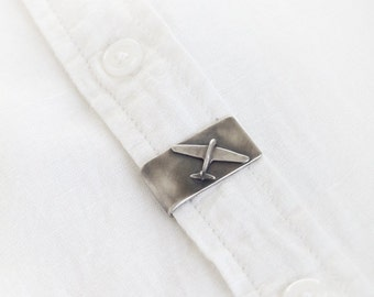 Airplane Jewelry - Sterling Silver Tie Clip Gift for a Pilot