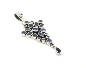 Sterling Silver Drop Pendant with Genuine Iolite Gemstones (with free complimentary chain)