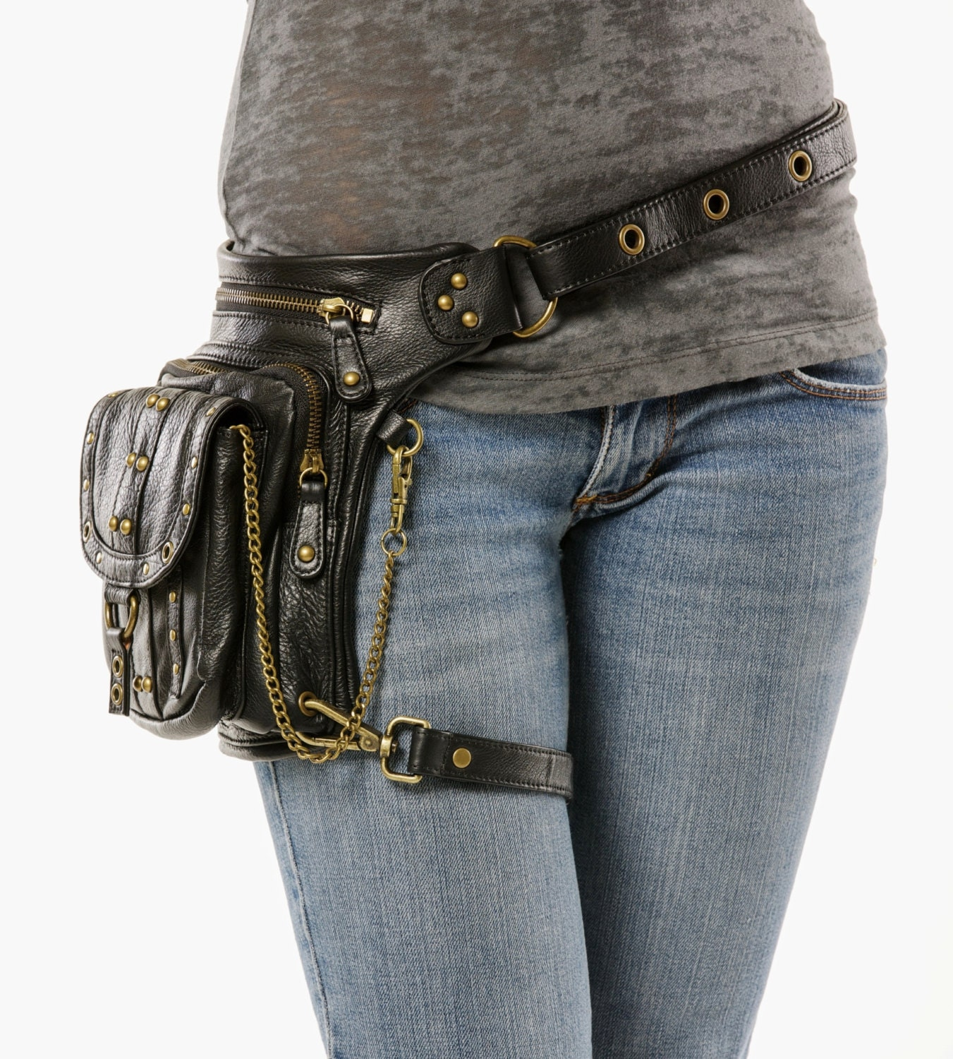 Uptown Pack Black Thigh Holster Protected Purse Shoulder
