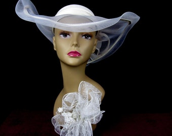 White Wedding Formal Sheer Organza Hat, With Wide Brim, Signed Jody G, 1960s