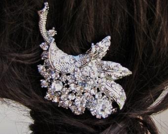 Bridal rhinestone hair comb - Peacock