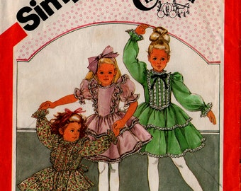 1983 GIRLS' PARTY DRESS Pattern Simplicity 6179 Size 5 Cinderella Ruffles Vintage Sewing