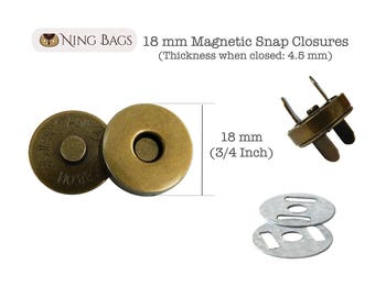 Set of 20 // 18 mm Magnetic Snap Closure, Purse Magnetic Snaps, Magnetic Buttons  in Antique Brass