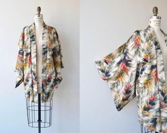 Umō silk haori | vintage 1950s short kimono | floral silk kimono jacket