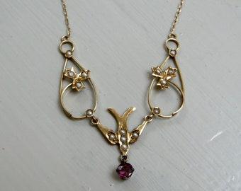 Victorian 14K and Seed Pearl Swallow Necklace