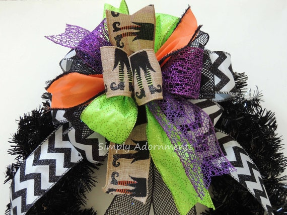 Black Green Purple Halloween Witch Bow Witch leg Wreath Bow Halloween Witch Bow Halloween Door Hanger bow Halloween Witch themed Party Decor