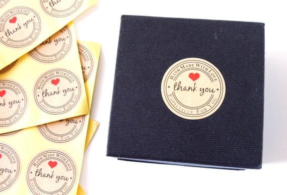 "Handmade with LOVE stickers - Handmade stickers round 1"" - Handmade for you with love stickers - Handmade kraft paper stickers"