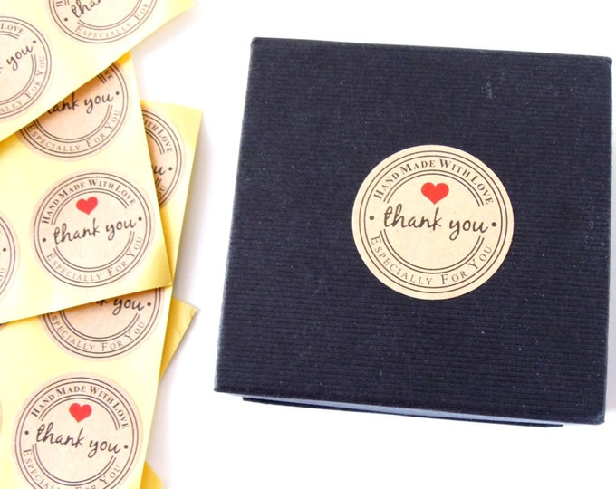"Handmade with LOVE stickers - Handmade stickers round 1"" - Handmade for you with love stickers - Handmade kraft paper stickers"